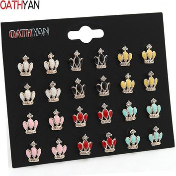 OATHYAN 12 Pairs/set Trendy Enamel Crown Earrings For Women Gift Cute Gold Color Alloy Rhinestone Small Stud Earrings Sets Mixed
