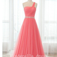 Bright color one-shoulder prom dress, Chiffon long prom dress, Bridesmaid Dress Prom Dress,elegant dress,Evening Dress,wedding dress