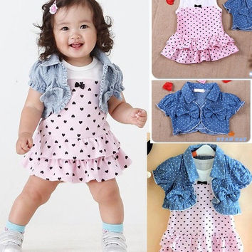 Baby Girls Summer Dress + shirt Kids Clothes 2Pcs Set Denim Waistcoat Outfits = 1929729092
