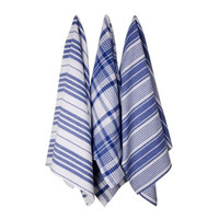 Blue Striped Kitchen Towels - Set of 3