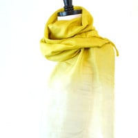 Soft Yellow and White Silk Ombre Scarf