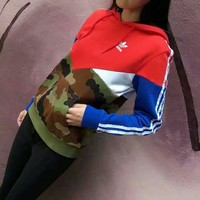 ADIDAS Fashion Casual Sport Long Sleeve Hooded Splicing Sweater G-A-GHSY-1