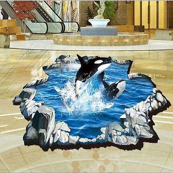 2016 Fashion 3D Art Wall Sticker Dolphin Blue Sea Ocean Kids Bedroom Mural Wallpaper Decor