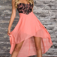 Pink Floral Pattern Lace Strapless Chiffon Dress