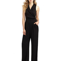 Black Haltered Chiffon Jumpsuit