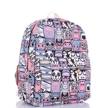 ICIKIX3 Plaid Print Cartoons Backpack = 4887920516