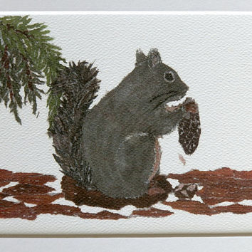 Free Shipping USA, Squirrel Munching On Pine Cone Print, Hand-Torn Newspaper Collage, Woodland Animal, Forest Friend Art, For 8 x 10 Frame