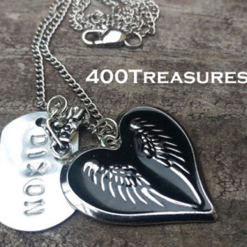 All Things DIXON -Necklace, Wings in circled by a heart, , motorcycle charm & Dixon Dog Tag, Silver Chain