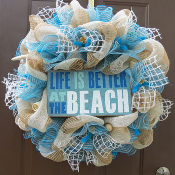 Beach Deco Mesh Wreath, Summer Deco Mesh Wreath, Beach Burlap Wreath, Summer Burlap Wreath, Beach Wreath, Summer Wreath