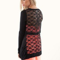 Lace Back Cardigan In Black Color | Shop Closet Essentials At MessesOfDresses.com