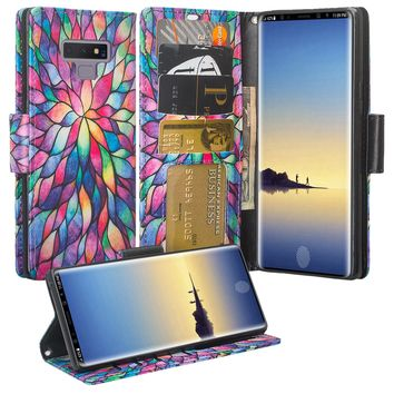 Samsung Galaxy Note 9 Case, SM-N960U Wallet Case, Wrist Strap Pu Leather Wallet Case [Kickstand] with ID & Credit Card Slots - Rainbow Flower