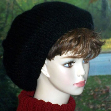 Knit  Slouch Hat Black Knit Beret