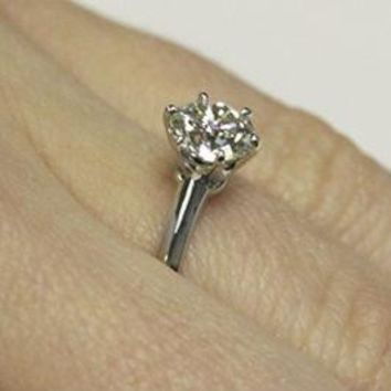 Certified Classic Six Prong Solitaire 1.0Ct. Enhanced Diamond Engagement Ring (J/K Color I2/I3 Clarity)