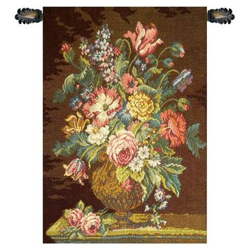 Vase with Flowers Brown Tapestry Wall Art Hanging