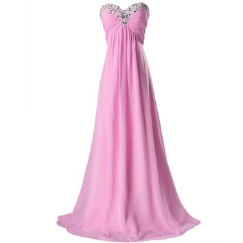 Formal Evening Dresses 2017 Women Sky Blue Pink Sleeveless Empire Waist Elegant Evening Gowns Cheap Party Dresses 3518
