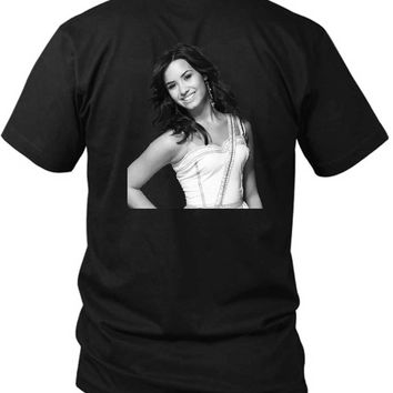 Demi Lovato Grayscale Photo 2 Sided Black Mens T Shirt