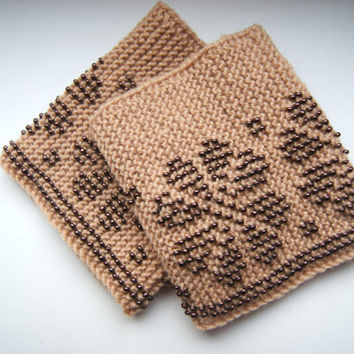Beaded Wrist warmers, cuffs light brown with glossy bronze/brown,  beads, flower ornament, from cashmere,  Ready to ship