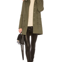 Lovers + Friends Cora Parka Jacket With Faux Fur in Army & Pink