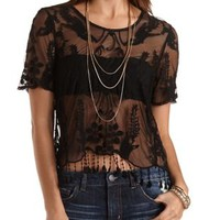 Black Embroidered Mesh Fringe Tee by Charlotte Russe