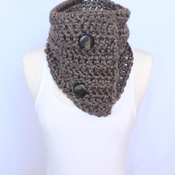Chunky Cowl with Buttons - Grey and Taupe Mix