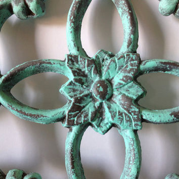 Mint Green Cast Iron Gate Architectural Salvage Wall Decor