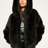 Missguided - Black Hooded Faux Fur Short Coat