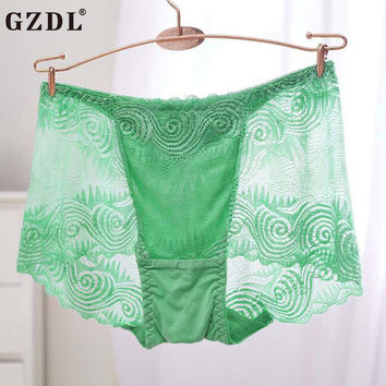 GZDL Hot Ladies Underwear Boxers Knickers  Lace Floral Transparent Breathable High Ruffles Lot Sexy Women Panties Lingerie NY279