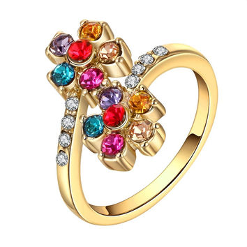 Gold Plated Rainbow Colored Orchid Ring