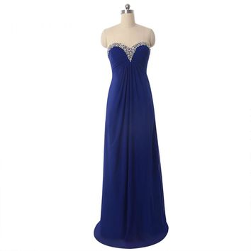 Beauty Sweetheart Neck Sleeveless Long Evening Dresses Chiffon Backless Beads Floor Length Evening Dress