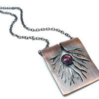 Dendritic Root System Necklace With Amethyst in Earth Toned Copper