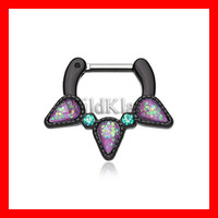 Black Septum Clicker Opal Purple Sparkle Trident 16g 14g Septum Ring Cartilage Earrings Nipple Ring Circular Barbell Tragus Jewelry Helix