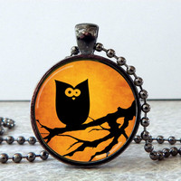 Halloween Glass Pendant Necklace, Halloween Owl Pendant, Whimsical Owl Necklace, Halloween Jewelry, Halloween Present, Halloween Favor