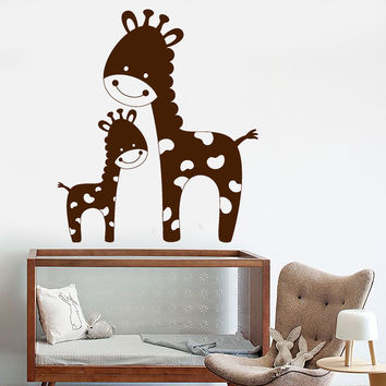 Vinyl Wall Decal Funny Family Giraffes African Animals Children's Room Decor Stickers Unique Gift (1212ig)