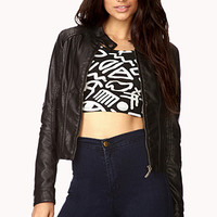 Casual-Chic Faux Leather Jacket