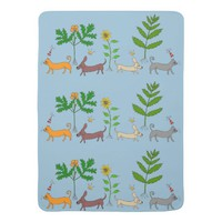 Whimsical Dogs Cats and Plants Baby Blanket
