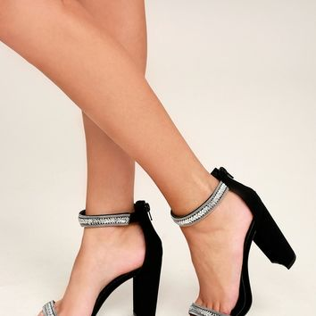 Cacey Black Nubuck Beaded Ankle Strap Heels