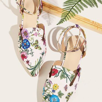 Point Toe Floral Print Ankle Strap Flats