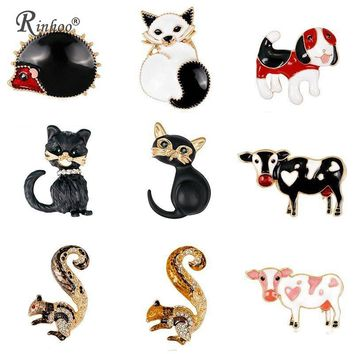 RINHOO Cute Animal Dog Cats Cow Brooches for Women Party Supplies Fashion Accessories EnamelBroach Collar Pins Gift Jewelry