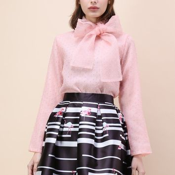Fancy Up Bowknot Organza Top in Pink