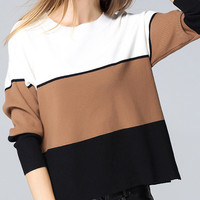 Colour-block Round Neck Crop Knitwear