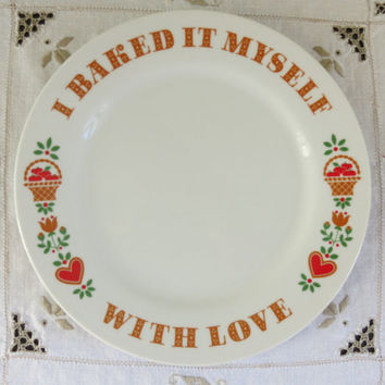 Avon Collectors Plate - I Baked it Myself with Love - Milk Glass - Pennsylvania Dutch