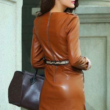 Khaki Stylish Neutral European Autumn&Winter Leather Fashion Dress