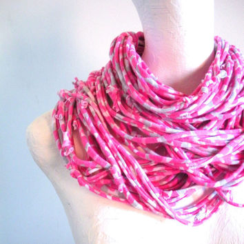 Handmade Raspberry Leopard Print Infinity Scarf Hot Pink Gray Animal Print Spring Fashion Circle Scarf Chunky Cowl Repurposed Clothing