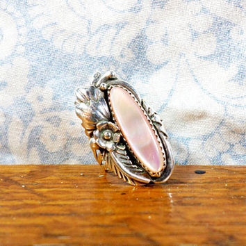 Vintage Pink Abalone Sterling Silver Floral Ring By Julia Martinez Circa 1970s