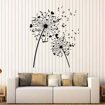 Vinyl Wall Decal Musical Dandelion Music Art Room Decoration Stickers Mural Unique Gift (346ig)