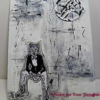 Anthromorphic Mixed Media Canvas Board. Ready to Ship