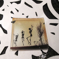 Dancing Skeletons Glass Tray