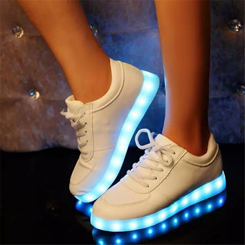Colorful Glowing Shoes With Lights Up Led Luminous Shoes Unisex USB Rechargeable Light