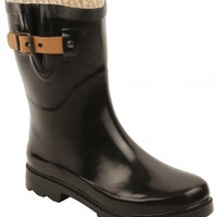 Chooka Womens Top Solid Mid Rain Boots in Black