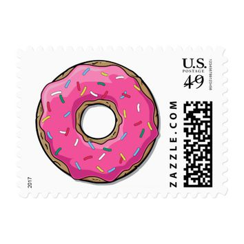 Cartoon Pink Donut With Sprinkles Postage